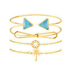 Women'S Pop Bracelet Creative Knot Coconut Tree Turquoise Cutout Four-Piece Set -