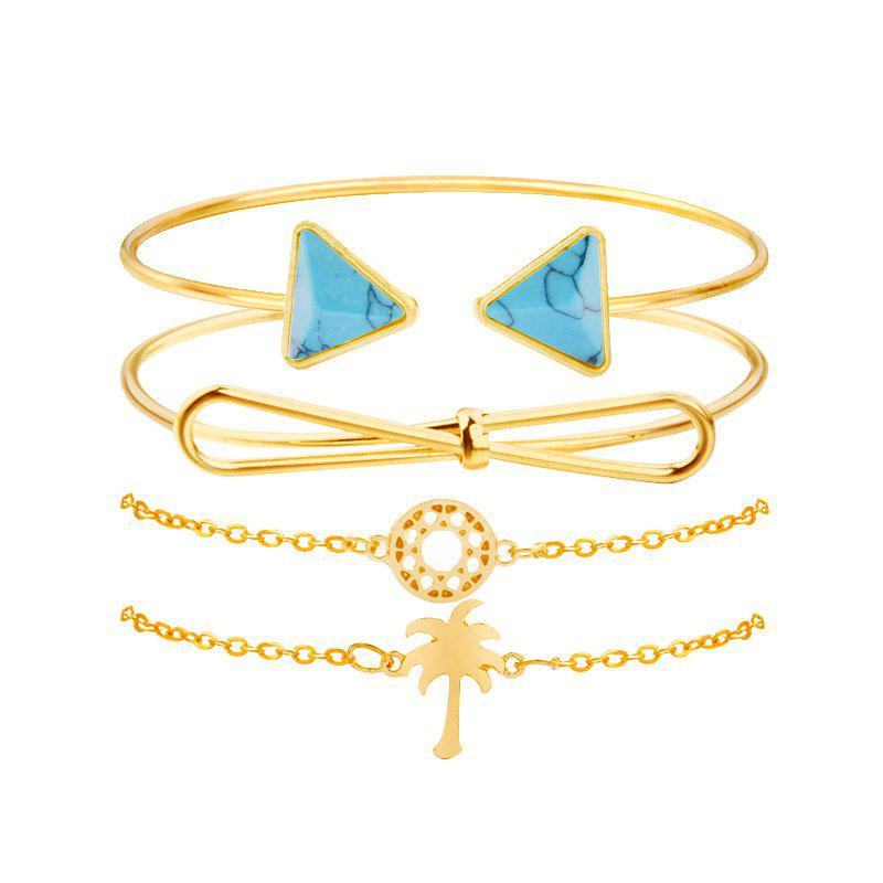 Shop Women'S Pop Bracelet Creative Knot Coconut Tree Turquoise Cutout Four-Piece Set