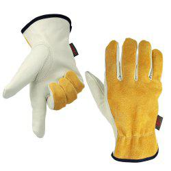 OZERO Cowhide Leather Work Gloves Drivers Safety Durable Wear-Resistant -