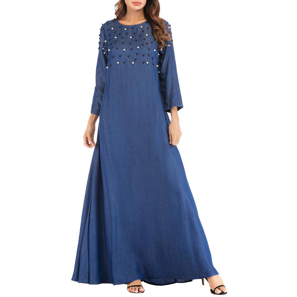 Chic Women Loose and Comfortable Long Dress with Beading