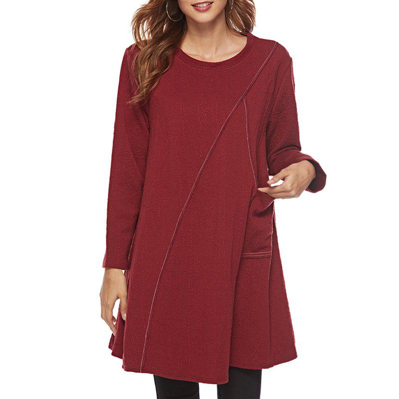 Sale Long sleeve round necktie dress