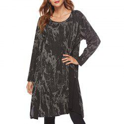 Long sleeve round neck irregular dress -