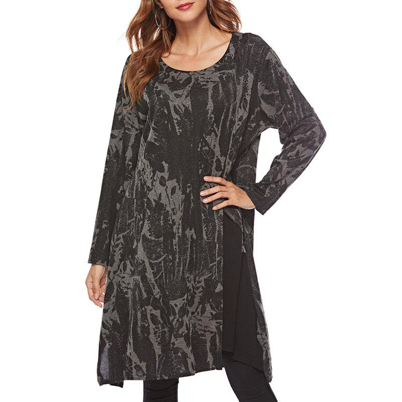 Online Long sleeve round neck irregular dress