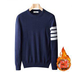 Casual Men's Plus Cashmere Warm Round Neck Pullover Sweater -