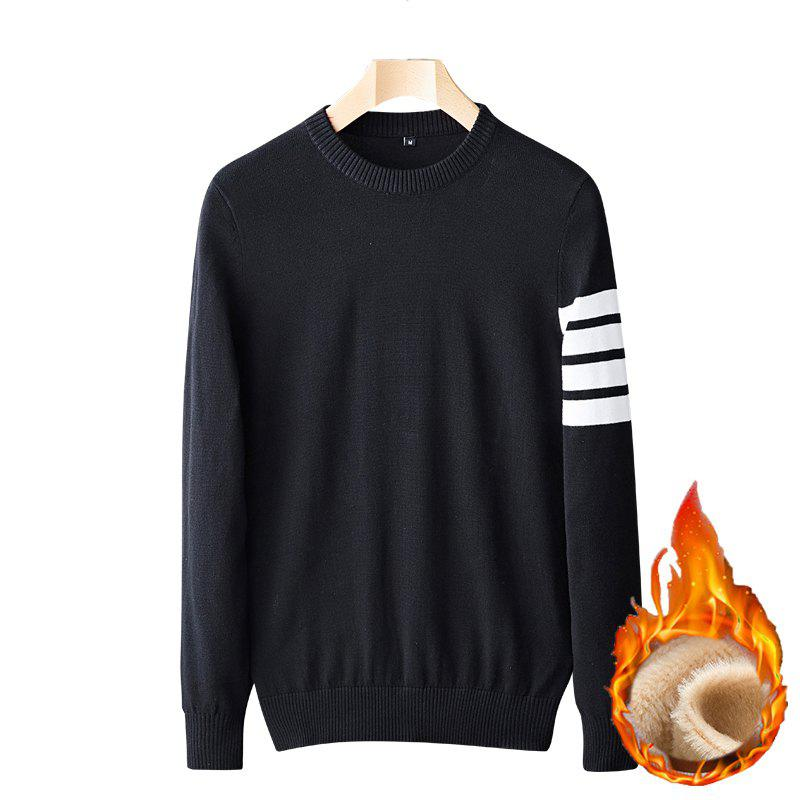 Sale Casual Men's Plus Cashmere Warm Round Neck Pullover Sweater