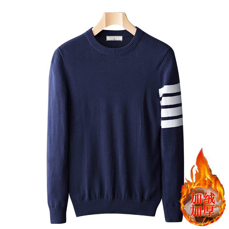 Chic Casual Men's Plus Cashmere Warm Round Neck Pullover Sweater