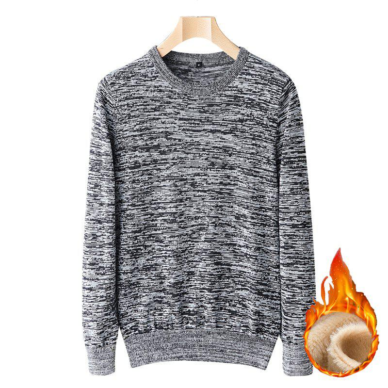 New Casual Men Plus Cashmere Warm Round Neck Pullover Knit Sweater
