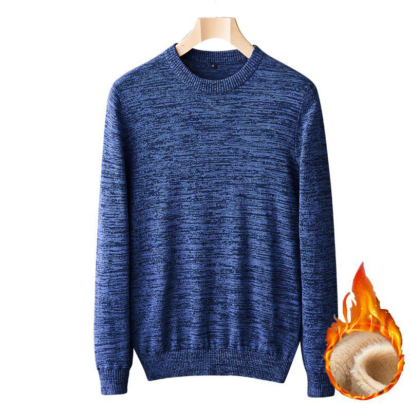 Fashion Casual Men Plus Cashmere Warm Round Neck Pullover Knit Sweater