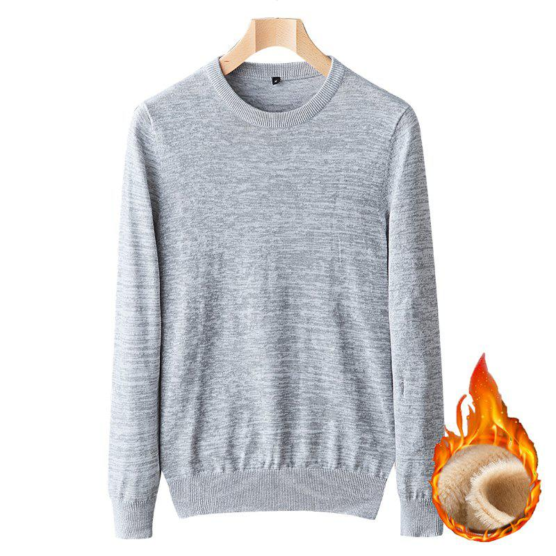 Online Casual Men Plus Cashmere Warm Round Neck Pullover Knit Sweater