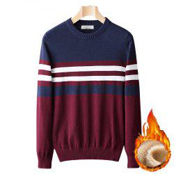 Casual Fashion Plus Cashmere Windproof Warm Round Neck Pullover Knit Sweater -