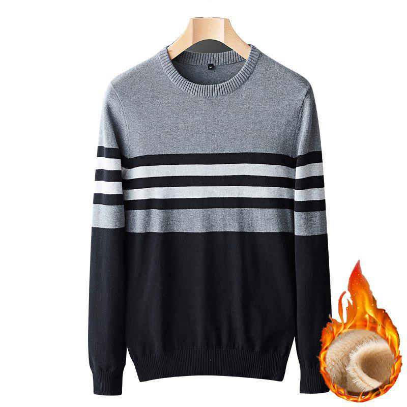 Shops Casual Fashion Plus Cashmere Windproof Warm Round Neck Pullover Knit Sweater