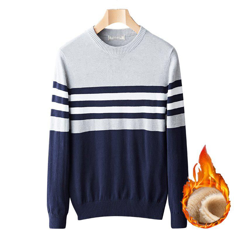 Sale Casual Fashion Plus Cashmere Windproof Warm Round Neck Pullover Knit Sweater