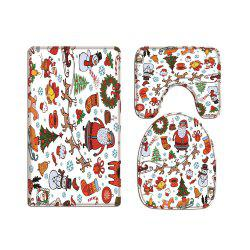 Colorful Christmas RallyDigital Printed Flannel Toilet Three-Piece -