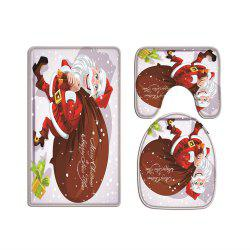 Santa Claus Dropping A Gift Digital Printed Flannel Toilet Three-Piece -