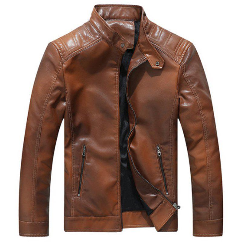 Outfits New Men Fashion Full Sleeve Gradient PU Jacket Spring Autumn Winter Warm Outwear