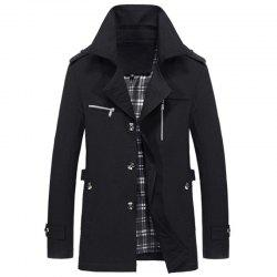New Man Fashion Long Sleeve Turn-Down Collar Casual Solid Trench Coat -