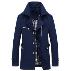 New Man Fashion Manches longues col rabattu Décontracté Trench Coat -