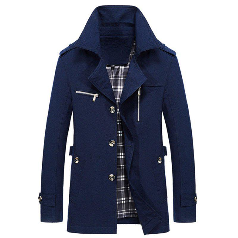 New Man Fashion Manches longues col rabattu Décontracté Trench Coat