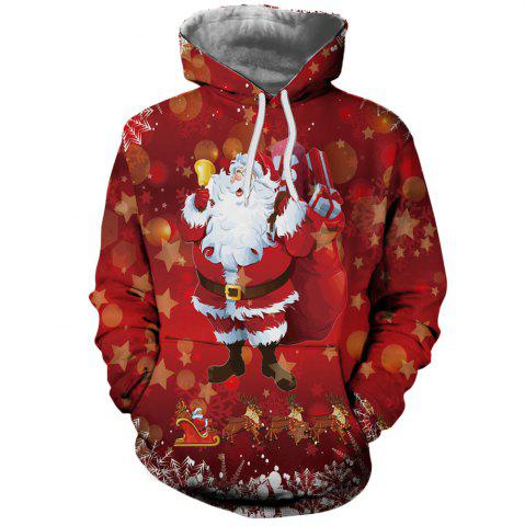 Winter Fashion Men's Christmas 3D Sports Print Hooded Hoodie Sweater