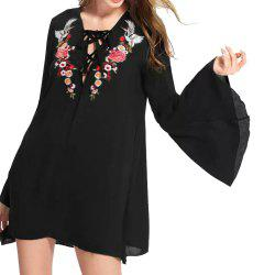 Deep V Strappy Crane Flower Loose Long-Sleeved Dress -