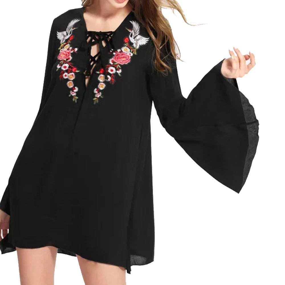 Sale Deep V Strappy Crane Flower Loose Long-Sleeved Dress