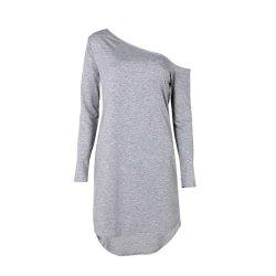 Autumn Irregular Hem Oblique Shoulder Long Sleeve Women's Dress -