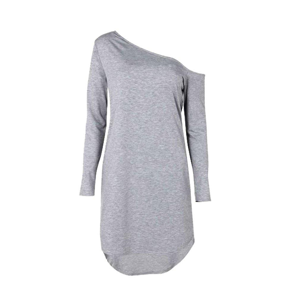Buy Autumn Irregular Hem Oblique Shoulder Long Sleeve Women's Dress