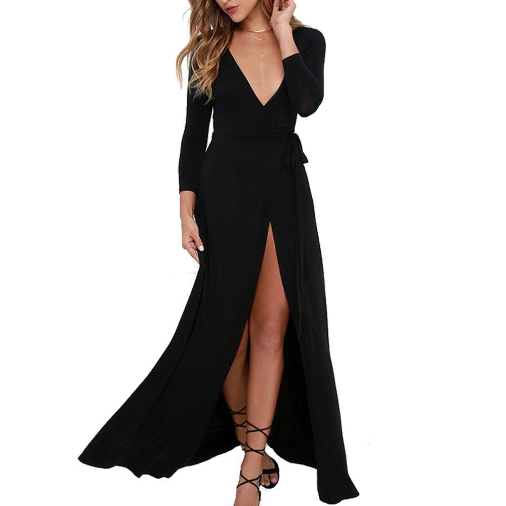 Fancy Sexy Split Dark V-Neck Long-Sleeved Women's Dress Maxi Dress