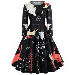 Christmas Print Long Sleeve Waist Slim Fit Women's Dress -
