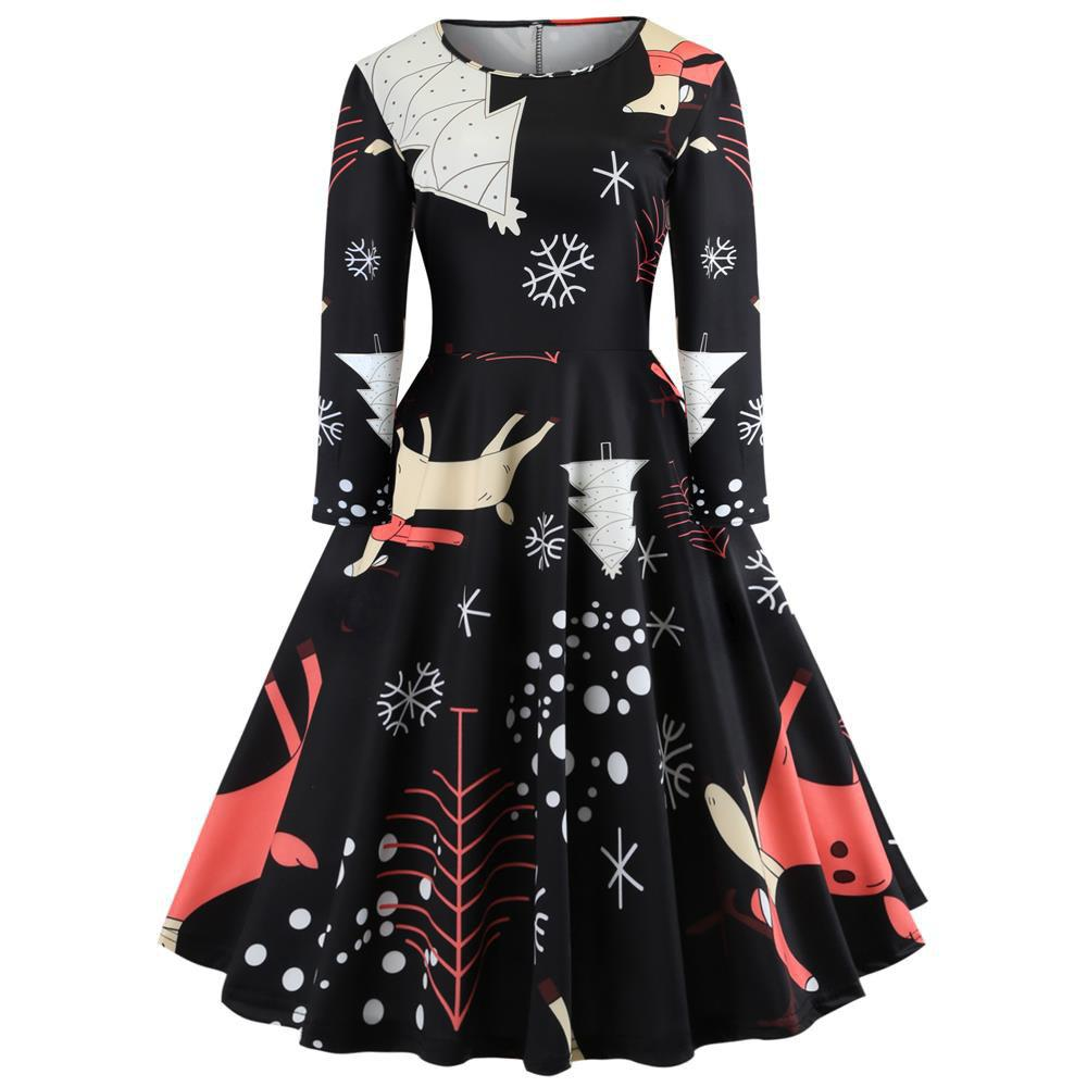 Cheap Christmas Print Long Sleeve Waist Slim Fit Women's Dress