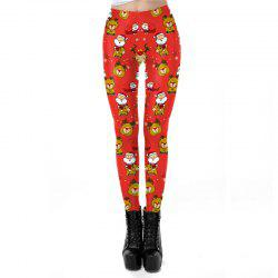 Christmas Costumes Women Santa Pattern Sport Leggings -