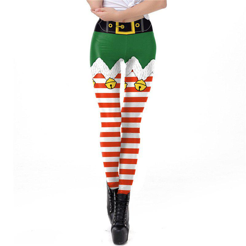 Chic Christmas Costume Stripe Pattern Decoration Women Sport Leggings