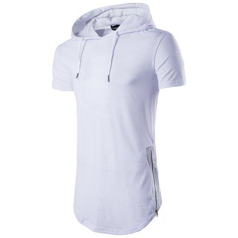 Multi Colour Mens Slim Fit Hooded Shirt Short Sleeve Muscle Tee