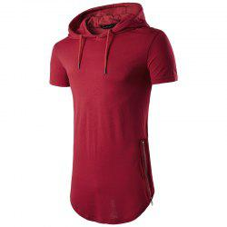 Multi Colour Mens Slim Fit Hooded Shirt Short Sleeve Muscle Tee -