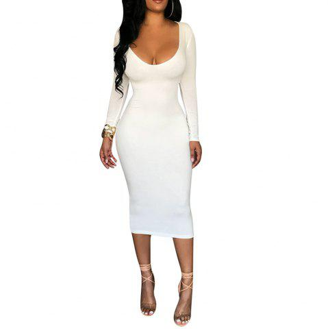 Women's Deep U Sexy Solid Color Wasit Cut Out Long Sleeve Bodycon Club Dress