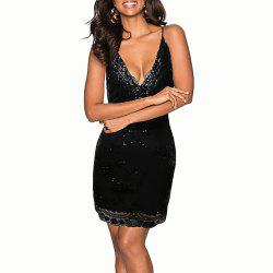 Deep V Strap Backless Sexy Sequins Patchwork Mesh Party Evening Club Dress -