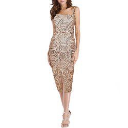 Women's Sexy Strap Sequins Party Club Evening Split Slim Bodycon Midi Dress -
