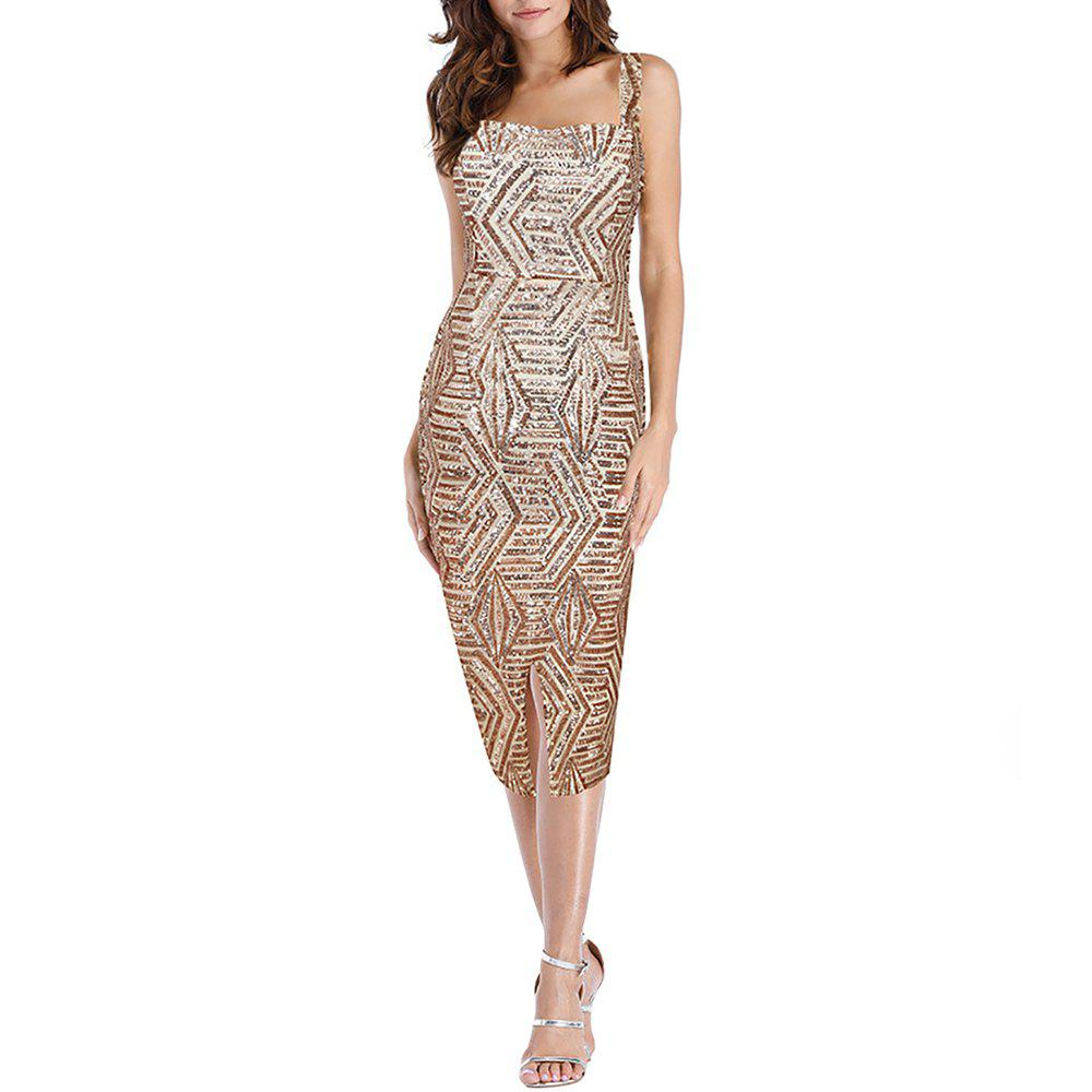 Affordable Women's Sexy Strap Sequins Party Club Evening Split Slim Bodycon Midi Dress