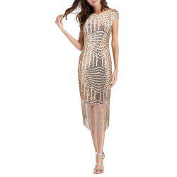 Women Fashion Sequins Slim Short Sleeve Tassel Patchwork Sexy Bodycon Midi Dress -