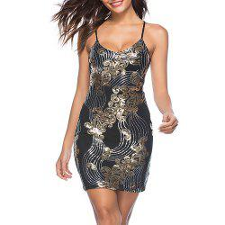 Women's Sexy V Neck Strap Backless Sequins Bodycon Party Club Dress -