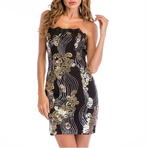 Women's Sexy Boat Neck Club Strapless Sleeveless Lace Sequins Bodycon Mini Dress