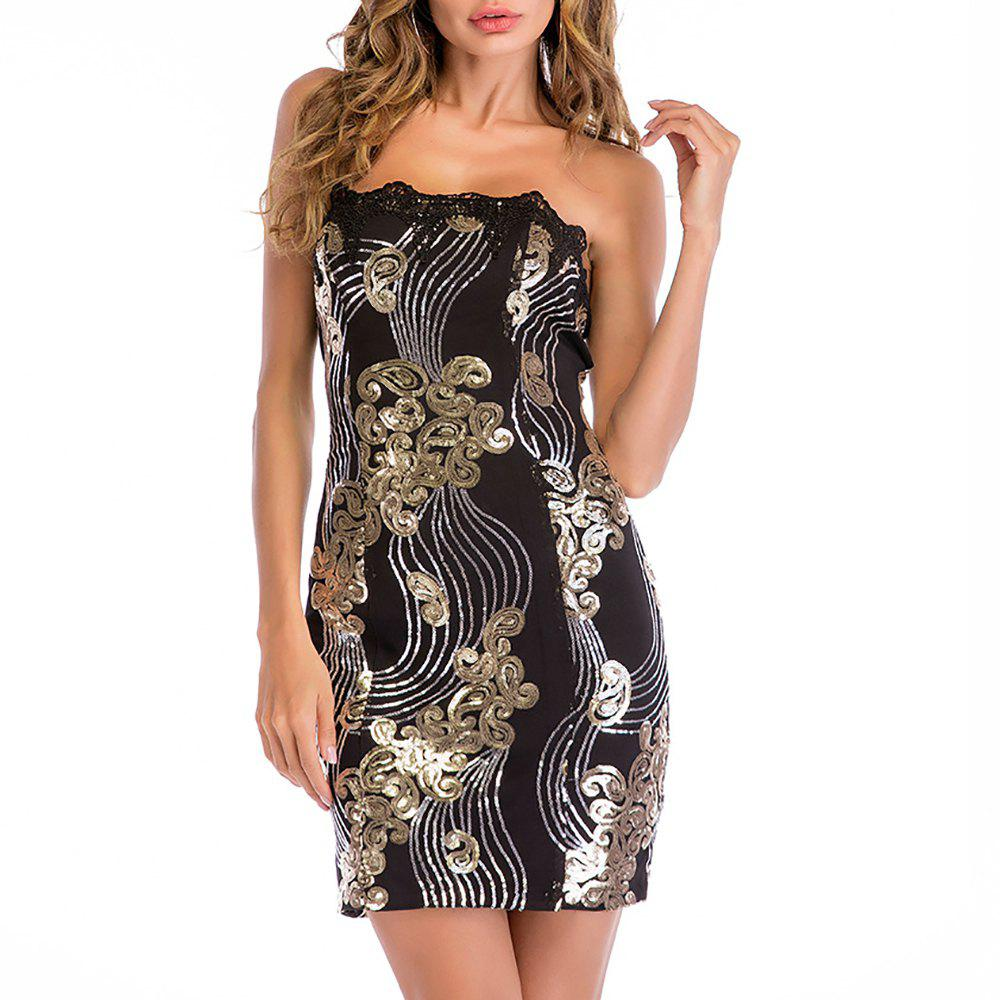 Hot Women's Sexy Boat Neck Club Strapless Sleeveless Lace Sequins Bodycon Mini Dress