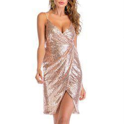 Sexy V Neck Strap Backless with Sequins Wrinkle Irregular Split Club Dress -