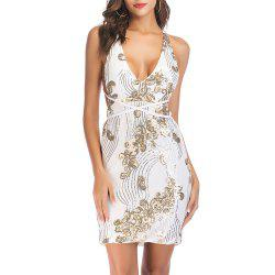 Deep V Strap Bandage with Sequins Backless Sexy Club Slim Dress -