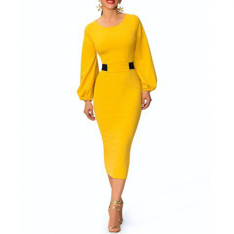 cc5f44cefc8 Round Neck Color Block Patchwork Lantern Sleeve Split Slim Pencil Bodycon  Dress