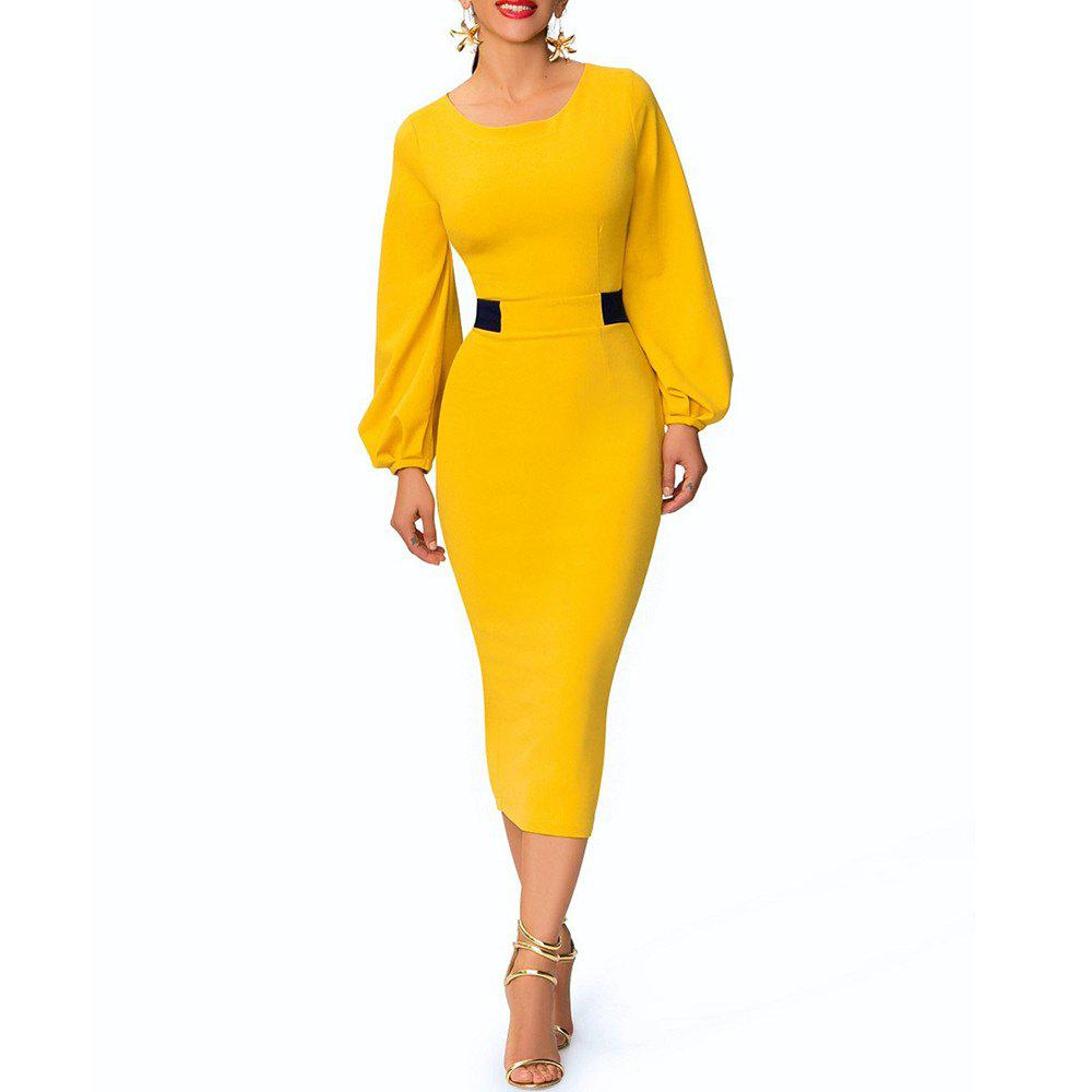 Round Neck Color Block Patchwork Lantern Sleeve Split Slim Pencil Bodycon Dress, Yellow