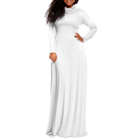 Women's Heap Collar Solid Color Long Sleeve Plus Size Regular Maxi Dress