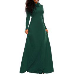 Women's Heap Collar Solid Color Long Sleeve Plus Size Regular Maxi Dress -