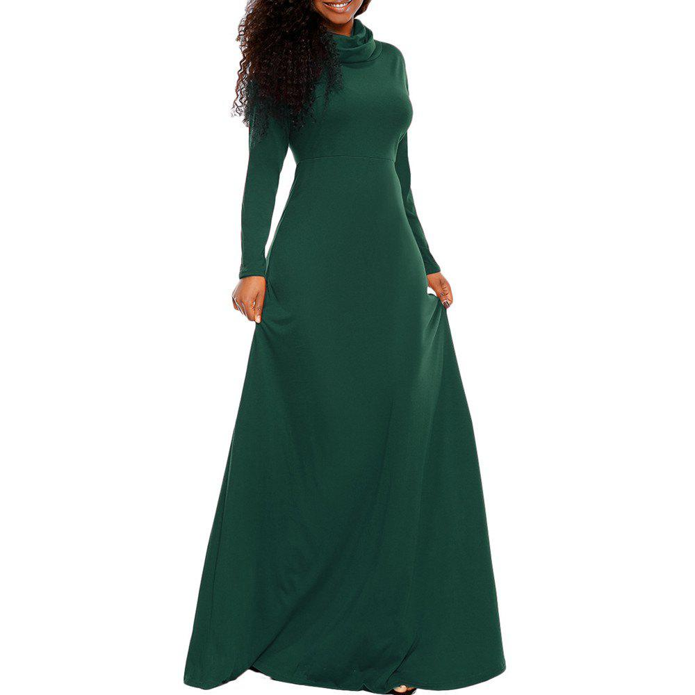 Store Women's Heap Collar Solid Color Long Sleeve Plus Size Regular Maxi Dress