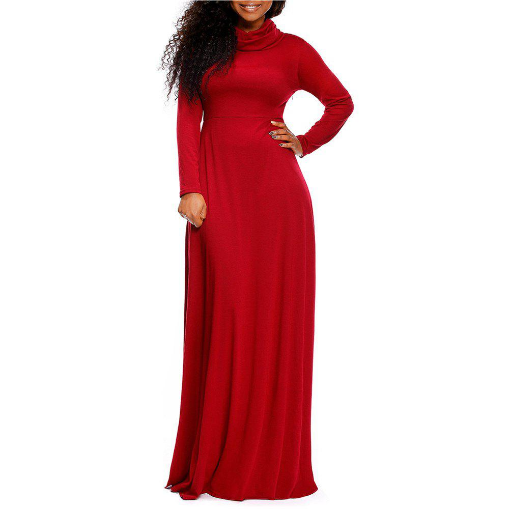 52f6f57404b Discount Women s Heap Collar Solid Color Long Sleeve Plus Size Regular Maxi  Dress